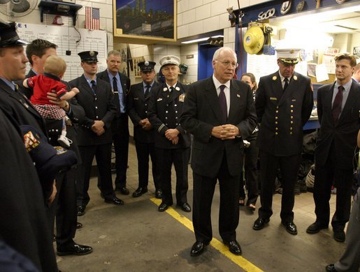 Vice President Dick Cheney meets with firefighters of FDNY Rescue Company 1 at their firehouse in New York, N.Y., Sept. 11, 2003. Eleven firefighters from the company died in the terrorist attacks Sept. 11, 2001. They are: Capt. Terence S. Hatton, 41; Lt. Dennis Mojica, 50; Joseph Angelini Sr., 63; Gary Geidel, 44; William Henry, 49; Kenneth Joseph Marino, 40; Michael G. Montesi, 39; Gerard Terence Nevins, 46; Patrick J. O'Keefe, 44; Brian Edward Sweeney, 29; and David M. Weiss, 41. White House photo by David Bohrer.