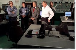 "President George W. Bush meets with employees of the Detroit Edison's Monroe Power Plant in Monroe, Mich., Monday, Sept. 15, 2003. ""For all the workers who work here, I want you to know you're providing an important service,"" said the President in his remarks. ""You're creating the conditions so people can find a job. You're working hard to make sure somebody can turn on a light switch and they can realize the comforts of modern life.""  White House photo by Tina Hager"