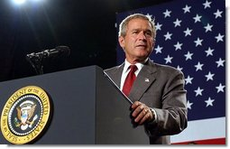 President George W. Bush talks about the progress on clean air reforms at the Detroit Edison's Monroe Power Plant in Monroe, Mich., Monday, Sept. 15, 2003.  White House photo by Tina Hager