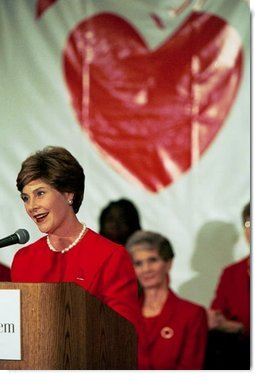 Laura Bush speaks about heart disease risks for women at St. Luke's Hospital in Kansas City, Mo., during a Heart Truth Campaign Event, Sept. 16, 2003.  White House photo by Susan Sterner