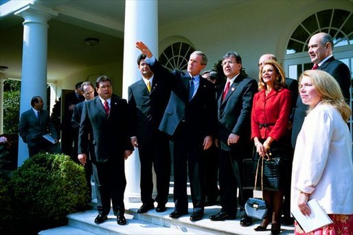 President George W. Bush tours the Rose Garden with President Nicanor Duarte of Paraguay and his delegation Friday, Sept. 26, 2003. White House photo by Tina Hager