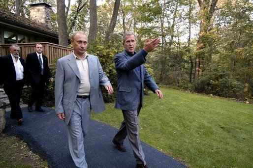 President George W Bush Escorts President Vladimir Putin Of Russia After His Arrival At Camp David