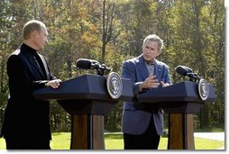 President George W. Bush and Russian President Vladimir Putin participate in a joint news conference at Camp David, Saturday, September 27, 2003.  White House photo by Eric Draper