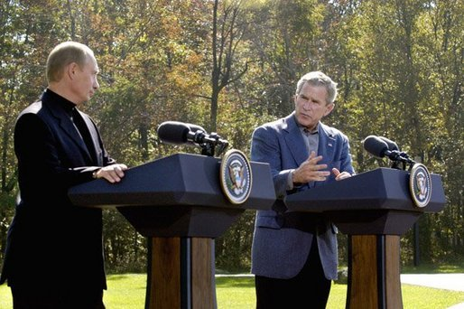 President George W. Bush and Russian President Vladimir Putin participate in a joint news conference at Camp David, Saturday, September 27, 2003. White House photo by Eric Draper.