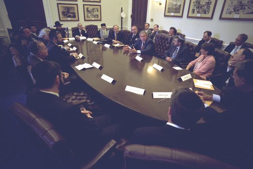 President George W. Bush meets with Congregational Rabbis in the Eisenhower Executive Office Building Monday, September 29, 2003. White House photo by Eric Draper
