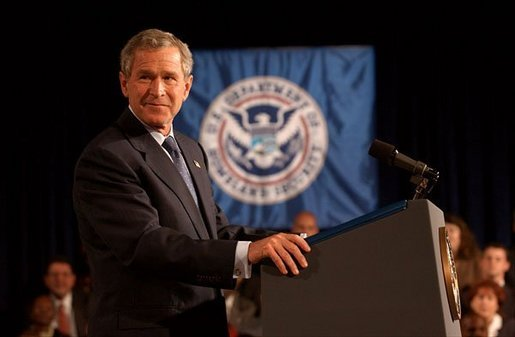 "President George W. Bush addresses employees at the Department of Homeland Security in Washington, D.C., Wednesday, Oct. 1, 2003. ""The danger to America gives all of you an essential role in the war on terror,"" said the President. ""You've done fine work under difficult and urgent circumstances, and on behalf of a grateful nation, I thank you all for what you do for the security and safety of our fellow citizens."" White House photo by Tina Hager."