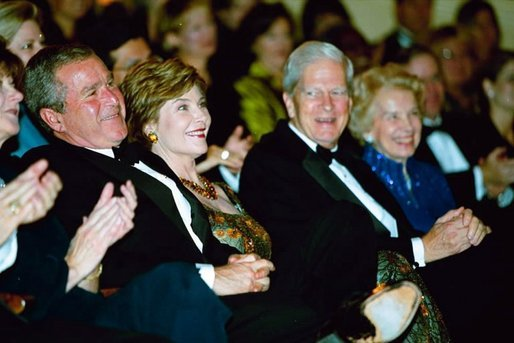 President George W. Bush and Laura Bush attend the 2003 National Book Festival Gala Performance and Dinner at the Library of Congress in Washington, D.C., Oct. 3, 2003. White House photo by Susan Sterner