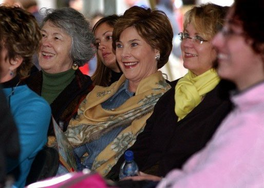 Laura Bush visits the Home and Family Pavilion during the National Book Festival on the mall in Washington D.C. Saturday, Oct. 4, 2003. White House photo by Jennifer Davis.