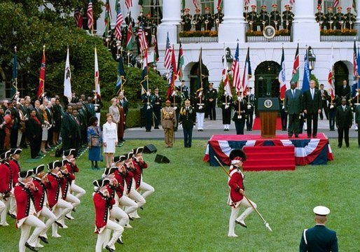 State Arrival Ceremonies for the Republic of Kenya included a military review on the South Lawn of the White House. White House photo by Tina Hager