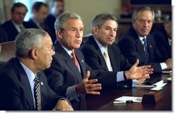 President George W. Bush discusses National Economic Security during a Cabinet Meeting, Tuesday, Oct. 7, 2003.  White House photo by Eric Draper