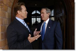 President George W. Bush meets with California Governor-Elect Arnold Schwarzenegger in Riverside, Calif., Thursday, Oct. 16, 2003.  White House photo by Eric Draper