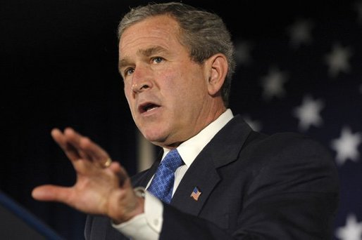 "President George W. Bush discusses the economy in San Bernardino, Calif., Thursday, Oct. 16, 2003. ""Last month this economy exceeded expectations and added new jobs. Inflation is low. After-tax incomes are rising. Home ownership is at record highs. Productivity is high. Factory orders, particularly for high-tech equipment, have risen over the last several months,"" said the President. ""Our strategy has set the stage for sustained growth. By reducing taxes we kept a promise, and we did the right thing at the right time for the American economy.""."