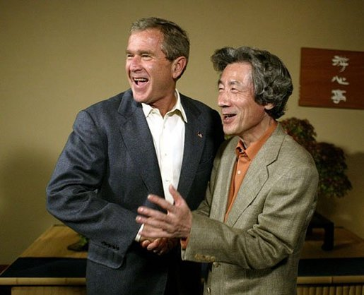 President George W. Bush and Japanese Prime Minister Junichiro Koizumi meet with the press after a dinner in Tokyo during the first stop of the President's trip to Asia and Australia Thursday, Oct. 16, 2003. White House photo by Paul Morse