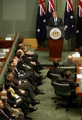 President George W. Bush speaks to the Australian Parliament in Canberra, Australia, Oct. 23, 2003.  White House photo by Paul Morse
