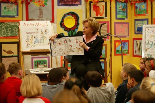 "Lynne Cheney shares ideas from her book ""A is for Abigail: An Almanac of Amazing American Women"" with more than 80 third grade students from Ashurst Elementary School and Russell Elementary School on Marine Corps Base, Quantico, Va., Oct. 23, 2003. This is the second children's book authored by Mrs. Cheney designed to educate children about American History. Mrs. Cheney's proceeds from the book will be donated to charity. White House photo by David Bohrer."