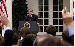President George W. Bush holds a press conference in the Rose Garden Tuesday, Oct. 28, 2003.  White House photo by Paul Morse