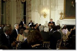 "President George W. Bush hosts an Iftaar dinner celebrating Ramadan at the White House Monday, Oct. 28, 2003. ""For Muslims in America, and around the world, this holy time is set aside for prayer and fasting,"" said President Bush. ""It is also a good time for people of all faiths to reflect on the values we hold common -- love of family, gratitude to God, and a commitment to religious freedom.""  White House photo by Susan Sterner"