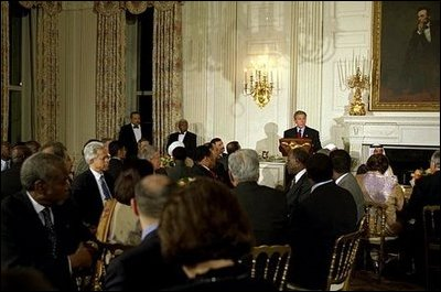 "President George W. Bush hosts an Iftaar dinner celebrating Ramadan at the White House Monday, Oct. 28, 2003. ""For Muslims in America, and around the world, this holy time is set aside for prayer and fasting,"" said President Bush. ""It is also a good time for people of all faiths to reflect on the values we hold common -- love of family, gratitude to God, and a commitment to religious freedom."" White House photo by Susan Sterner. White House photo by Susan Sterner"