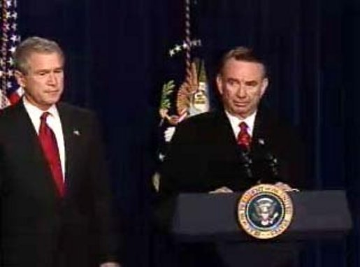 President Bush and HHS Secretary Tommy Thompson discussed Medicare reform and urged Congress to finalize legislation that benefits America's seniors Wednesday in the Eisenhower Executive Office Building. White House screen capture