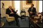Vice President Dick Cheney meets with California Gov.-elect Arnold Schwarzenegger in the Vice President's West Wing office Oct. 30, 2003. This is the first meeting between Vice President Cheney and Mr. Schwarzenegger since the state's historical recall election Oct. 7, 2003.  White House photo by David Bohrer