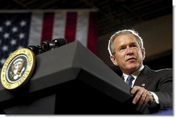 President George W. Bush delivers remarks on energy at the Central Aluminum Company in Columbus, Ohio, Thursday, Oct. 30, 2003.  White House photo by Eric Draper