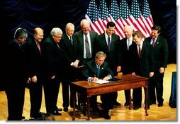 President George W. Bush signs S.3, the Partial Birth Abortion Ban Act of 2003., at the Ronald Reagan Building in Washington, D.C., Wednesday, Nov. 5, 2003.  White House photo by Tina Hager