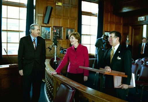 Laura Bush tours Portland City Hall with Mayor James Cloutier and Lee Urban, Director of Urban Planning and Development, in Portland, Maine, Nov. 10, 2003. White House photo by Susan Sterner