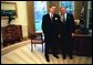 President George W. Bush meets with Mike Leavitt, the new administrator for the Environmental Protection Agency in the Oval Office Wednesday, Nov 12, 2003. White House photo by Eric Draper