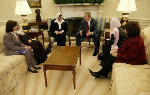 President George W. Bush meets with several Iraqi women leaders in the Oval Office Monday, November 17, 2003. White House photo by Eric Draper