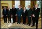 President George W. Bush meets with six of the 2003 recipients of the Nobel Awards in the Oval Office Monday, November 17, 2003. From left to right, Nobel Award recipients are: Dr. Rokerick MacKinnon, New York City (chemistry); Dr. Anthony Leggett, Urbana, Illinois (physics); Dr. Robert Engle, New York City (economics); Dr. Alexei Abrikosov, Argonne, Illinois (physics); Dr. Peter Agre, Baltimore, Maryland (chemistry); and Dr. Paul Lauterbur, Urbana, Illinois (physiology/medicine). White House photo by Tina Hager