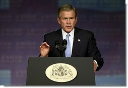 "President George W. Bush speaks about Iraq and the war on terror at The Banqueting House in London Wednesday, Nov. 19, 2003. ""We did not charge hundreds of miles into the heart of Iraq and pay a bitter cost of casualties, and liberate 25 million people, only to retreat before a band of thugs and assassins,"" said the President. ""We will help the Iraqi people establish a peaceful and democratic country in the heart of the Middle East. And by doing so, we will defend our people from danger.""  White House photo by Paul Morse"