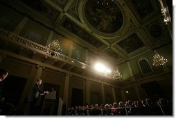 "President George W. Bush speaks about America's relationship with Great Britain and the war on terror at The Banqueting House in London Wednesday, Nov. 19, 2003. ""On September the 11th, 2001, terrorists left their mark of murder on my country, and took the lives of 67 British citizens,"" said the President. ""With the passing of months and years, it is the natural human desire to resume a quiet life and to put that day behind us, as if waking from a dark dream. The hope that danger has passed is comforting, is understanding, and it is false.""  White House photo by Eric Draper"