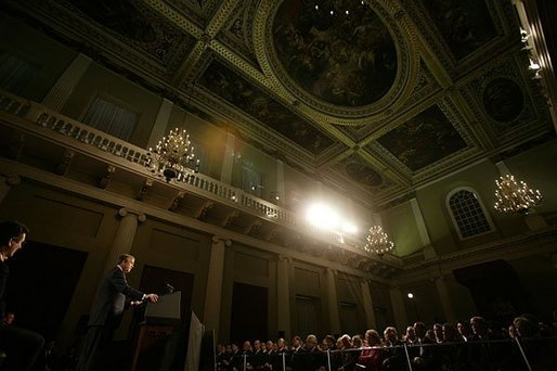 "President George W. Bush speaks about America's relationship with Great Britain and the war on terror at The Banqueting House in London Wednesday, Nov. 19, 2003. ""On September the 11th, 2001, terrorists left their mark of murder on my country, and took the lives of 67 British citizens,"" said the President. ""With the passing of months and years, it is the natural human desire to resume a quiet life and to put that day behind us, as if waking from a dark dream. The hope that danger has passed is comforting, is understanding, and it is false."" White House photo by Eric Draper."