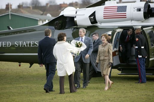 President George W. Bush and Mrs. Laura Bush arrive at Prime Minister Tony Blair and Mrs. Blair's home, Myrobella House, Trimdon Station. White House photo by Eric Draper.