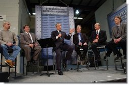 President George W. Bush discusses jobs and the economy with employers and employees from the Detroit metropolitan area at Dynamic Metal Treating in Canton, Mich., Monday, Dec. 1, 2003.  White House photo by Tina Hager