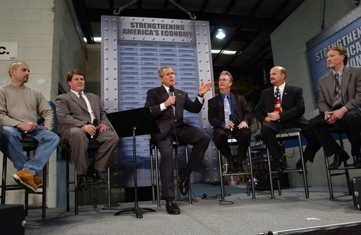 President George W. Bush discusses jobs and the economy with employers and employees from the Detroit metropolitan area at Dynamic Metal Treating in Canton, Mich., Monday, Dec. 1, 2003. White House photo by Tina Hager.