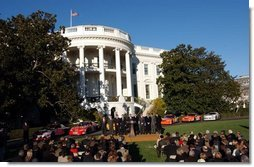 President George W. Bush honored ten of the best drivers of the 2003 NASCAR season on the South Lawn, Tuesday, December 2, 2003.  White House photo by Tina Hager