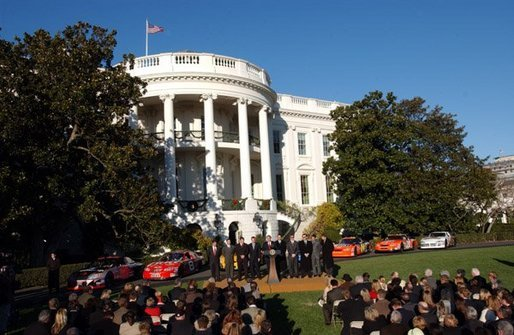 President George W. Bush honored ten of the best drivers of the 2003 NASCAR season on the South Lawn, Tuesday, December 2, 2003. White House photo by Tina Hager.