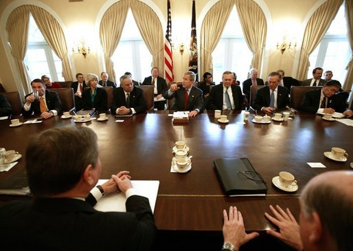 President George W. Bush speaks during his Cabinet Meeting, Thursday, Dec. 11, 2003. White House photo by Eric Draper.