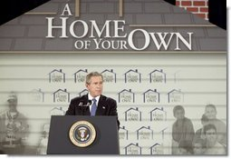 "During the signing ceremony of S. 811, The American Dream Downpayment Act, President George W. Bush delivers remarks at the U.S. Department of Housing and Urban Development in Washington, D.C., Tuesday, Dec. 16, 2003. ""One of the biggest hurdles to homeownership is getting money for a down payment,"" said President Bush. ""This administration has recognized that, and so today I'm honored to be here to sign a law that will help many low-income buyers to overcome that hurdle, and to achieve an important part of the American Dream.""  White House photo by Paul Morse"