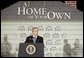 "During the signing ceremony of S. 811, The American Dream Downpayment Act, President George W. Bush delivers remarks at the U.S. Department of Housing and Urban Development in Washington, D.C., Tuesday, Dec. 16, 2003. ""One of the biggest hurdles to homeownership is getting money for a down payment,"" said President Bush. ""This administration has recognized that, and so today I'm honored to be here to sign a law that will help many low-income buyers to overcome that hurdle, and to achieve an important part of the American Dream."" White House photo by Paul Morse."