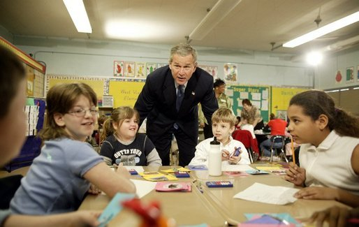 Celebrating the second anniversary of the No Child Left Behind Act, President George W. Bush visits with students at West View Elementary School in Knoxville, Tenn., Jan. 8, 2004. White House photo by Paul Morse.
