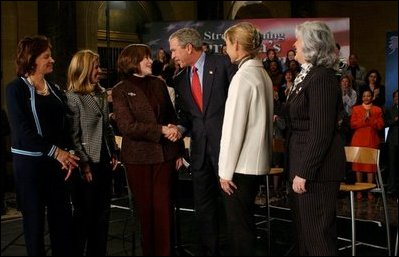 President George W. Bush thanks women business owners for participating in a conversation about the economy at the U.S. Department of Commerce in Washington, D.C., Friday, Jan. 9, 2004. From left, they are: Lurita Doan of Reston, Va.; Maria Coakley David of Falls Church, Va.; Sharon Evans of Fort Worth, Texas; Nancy Connolly of Littleton, Mass.; and Catherine Giordano Virginia Beach, Va. White House photo by Tina Hager