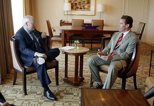 Vice President Dick Cheney talks with California Governor Arnold Schwarzenegger in Los Angeles, Calif., Jan. 14, 2004. White House photo by David Bohrer