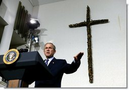President George W. Bush delivers remarks at Union Bethel African Methodist Episcopal Church in New Orleans, La., Thursday, Jan. 15, 2004. The Administration today announced additional regulations that will help break down barriers to faith- and community-based charities and will continue to look for opportunities to partner with effective social service organizations that are helping the most vulnerable Americans.  White House photo by Eric Draper