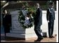 President George W. Bush and Coretta Scott King, left, participate in a wreath lay ceremony at the grave of Dr. Martin Luther King JR. in Atlanta, Georgia, Thursday, Jan. 15, 2004. White House photo by Eric Draper
