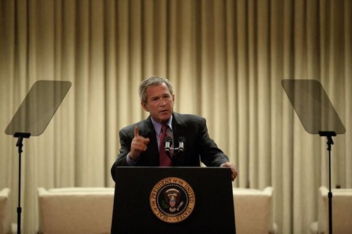 President George W. Bush continues rehearsing of his State of the Union speech in the Family Theater of the White House Jan. 20, 2004. White House photo by Eric Draper