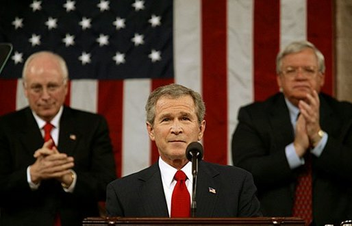 "President George W. Bush delivers his State of the Union Address to the nation and a joint session of Congress in the House Chamber of the U.S. Capitol Tuesday, Jan. 20, 2004. ""We have not come all this way – through tragedy, and trial, and war – only to falter and leave our work unfinished. Americans are rising to the tasks of history, and they expect the same of us,"" said President Bush in his remarks. White House photo by Eric Draper"