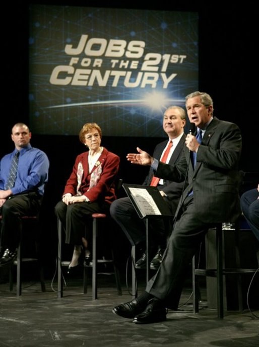 President George W. Bush speaks with participants during a discussion on job training and the economy at Owens Community College in Perrysburg Township, Ohio, Wednesday, Jan. 21, 2004. White House photo by Eric Draper.
