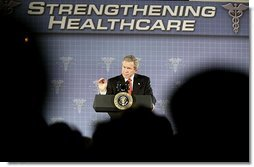 President George W. Bush delivers remarks on medical liability reform at Baptist Health Medical Center in Little Rock, Ark., Monday, Jan. 26, 2004.  White House photo by Paul Morse
